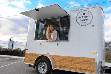 girl in coffee shop trailer