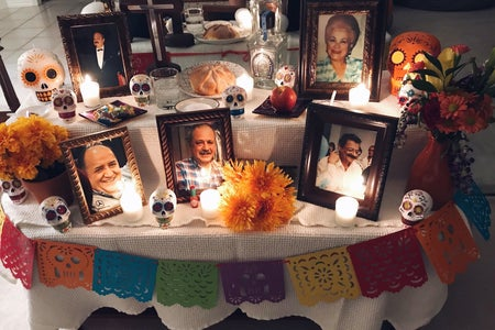This is a photo that chapter member Claudia Galindo took of her family's decorations for Día de los Muertos.