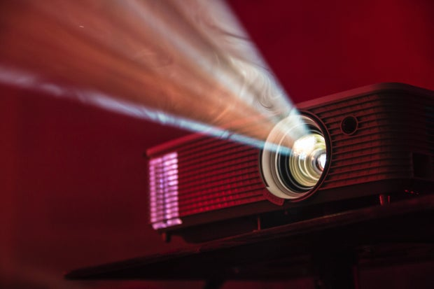 turned on LED movie projector