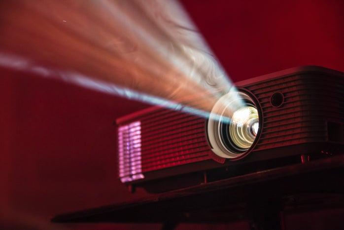 turned on LED movie projector