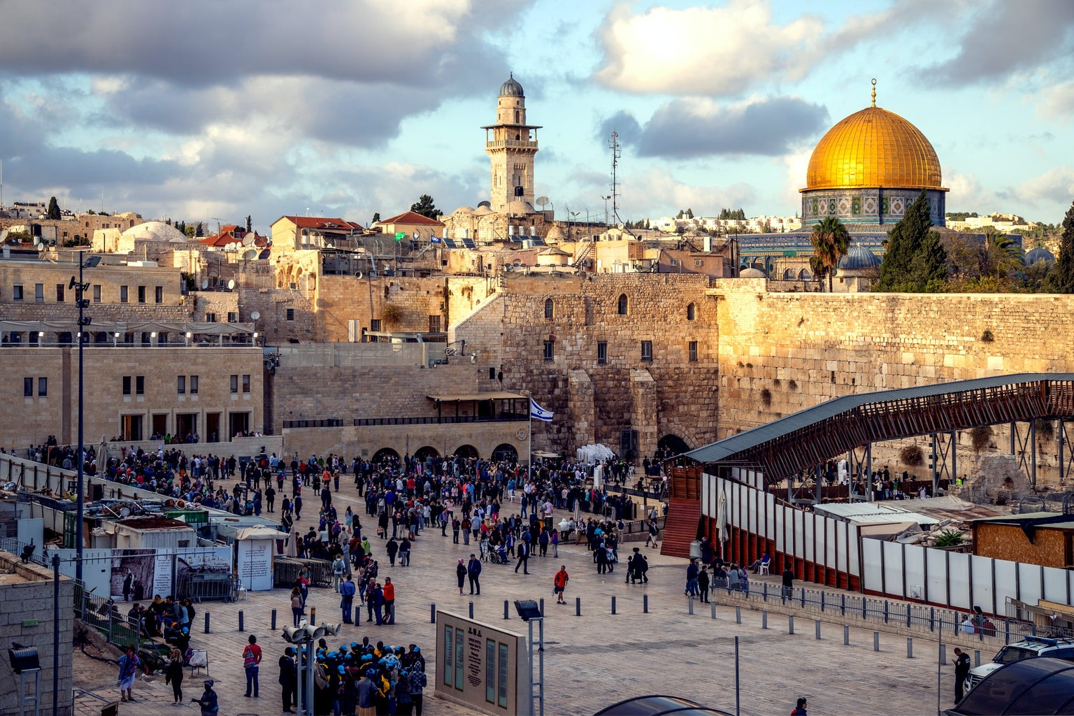 People gathered in the region of Western Wall, Jerusalem, Israel