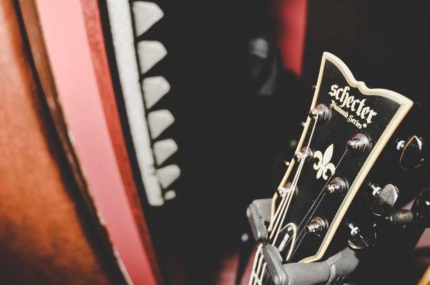 Close up of a rock guitar