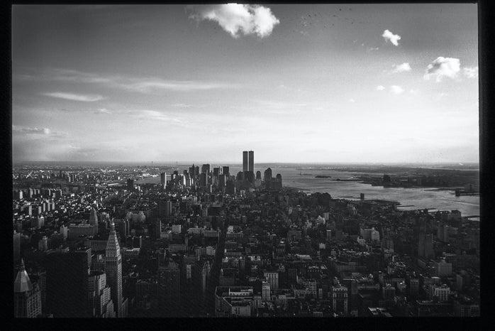 Black and white image of New York City skyline