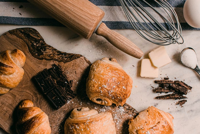 croissants and baking tools