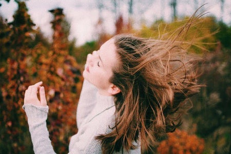 fall girl hair wind nature