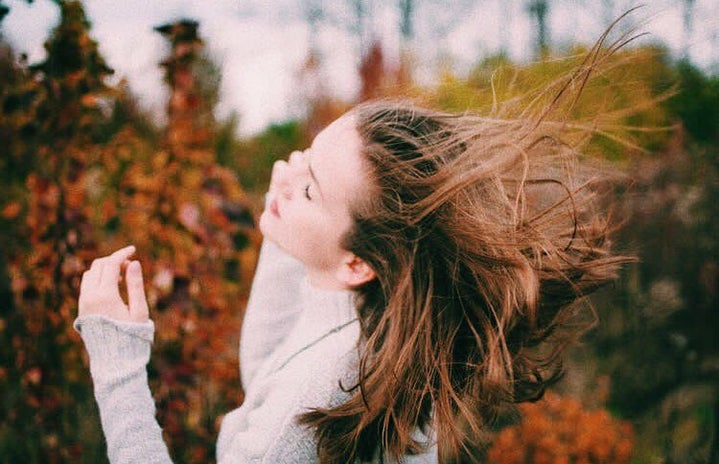 fall girl hair wind nature