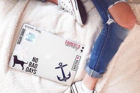 laptop jeans ripped study school