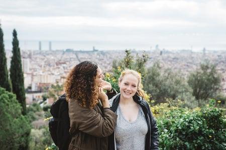 spain barcelona abroad europe girls firneds smile flowers landscape travel