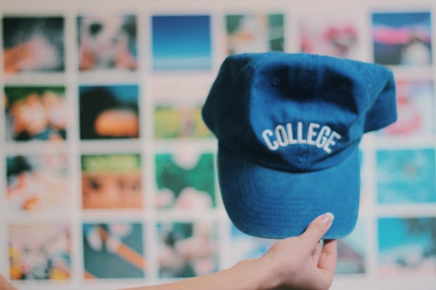 blue college hat room