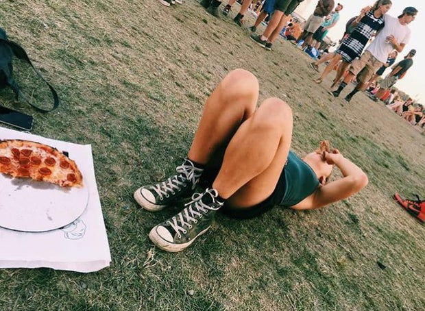 pizza grass laying down festival