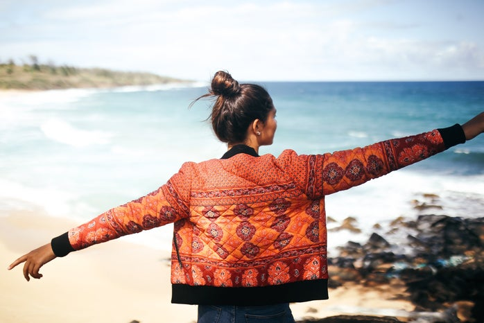 hawaii girl happy explore jacket beach adventure