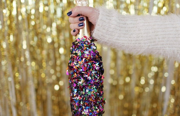 party champagne confetti gold new years