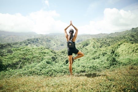 summer girl hawaii yoga hiking exercise view high res version