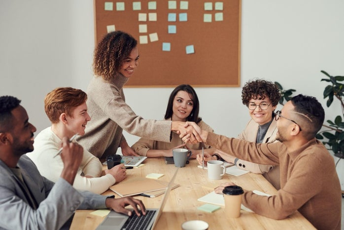 diverse group working in an office