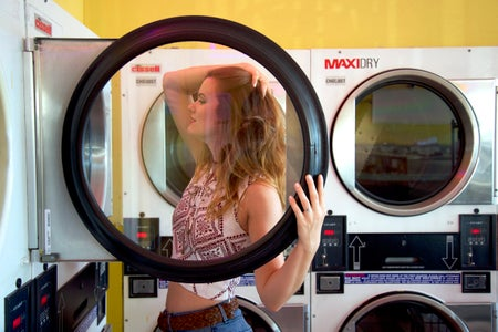 Lindsay Thompson-Miami Laundry Posing Vintage Pensive