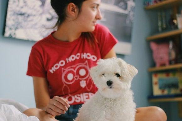 Girl In Iu Hoosiers Shirt With Dog