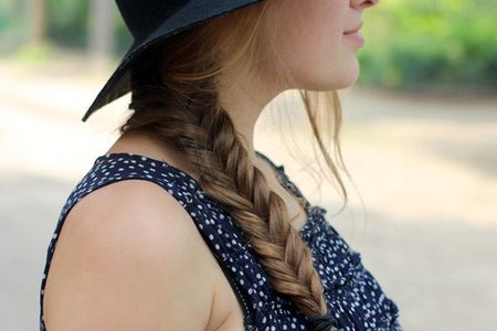 Girl Braid Hat Profile Close Up