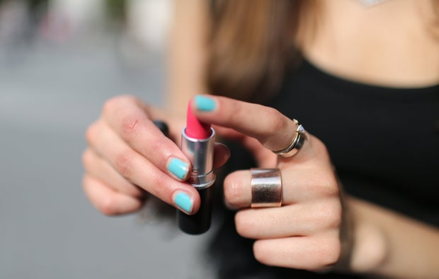 The Lalapink Lipstick Blue Nails