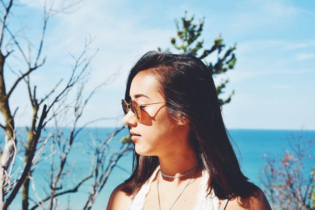 Profile Of Girl At The Beach In Sunglasses