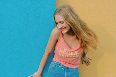 Anna Schultz-Girl Laughing Good Morning Sunshine Yellow And Blue Wall
