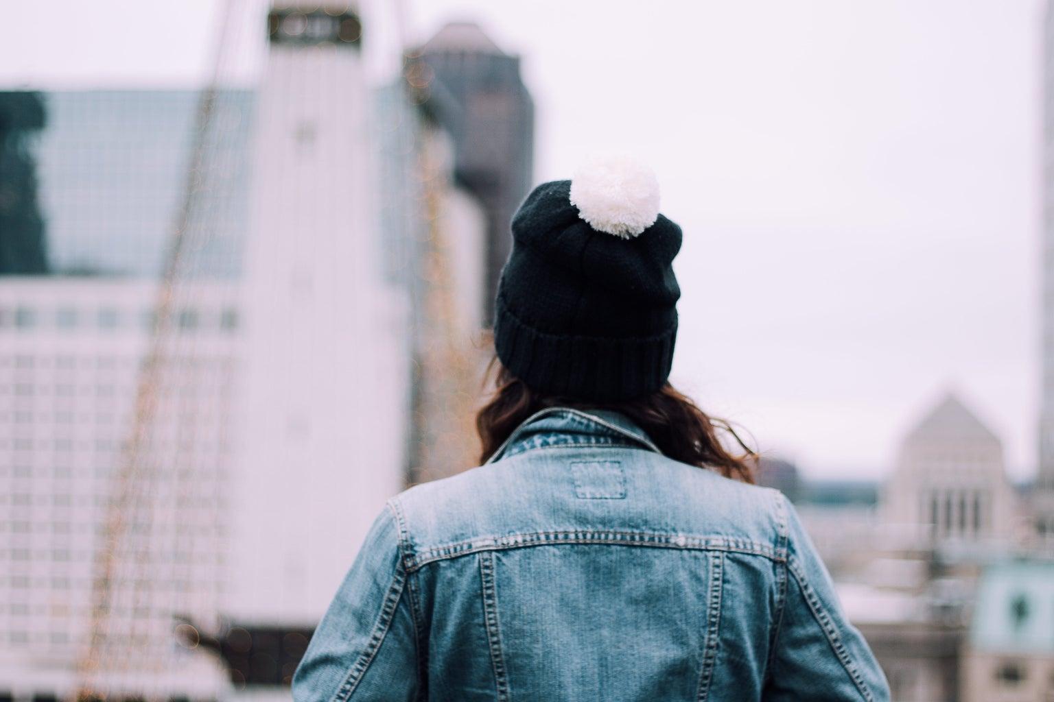 Jean Jacket With Pom Pom Beanie In The City 1