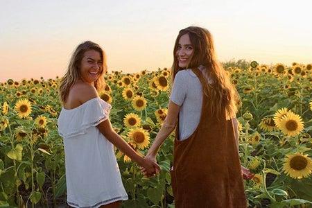 Maria Scheller-Best Friends Holding Hands Sunflower Field Dresses Summer Happy Sunset