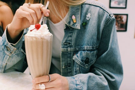 Anna Schultz-Denim Jacket With Patches And Milkshake