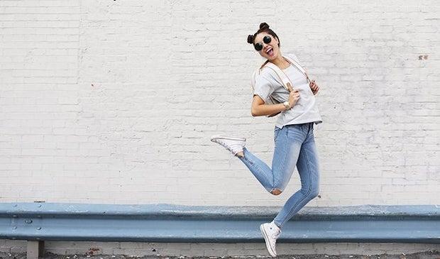 The Lalagirl Sunglasses Jumping Backback Converse Happy