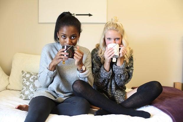 Two Girls Sipping Tea Coffee Mugs Cozy