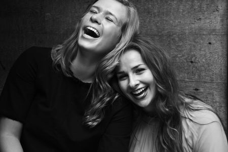 Friends Laughing B&W