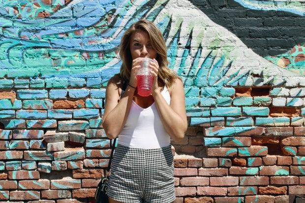 Maria Scheller-Starbucks Summer Brick Paint Wall Gingam