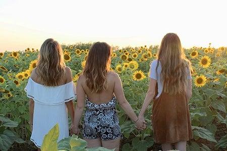 Maria Scheller-Friends Backs Hair Holding Hands Sunflowers Summer