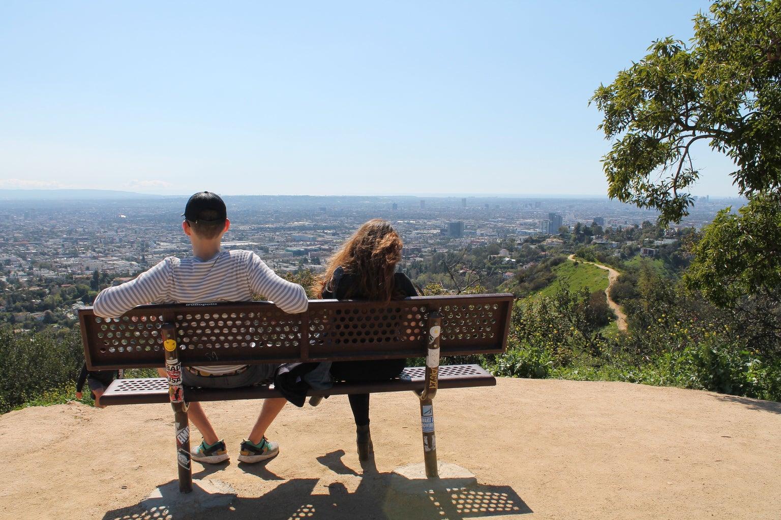 Couple Bench View Hiking Summer Fun Relationship Original
