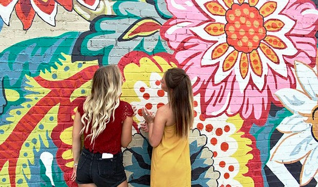Maria Scheller-Two Girls Friends Long Hair Blonde And Burnette Flower Mural