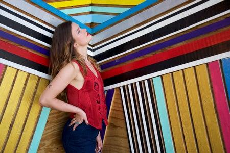 Lindsay Thompson-Mural Wall Art Girl Miami Colorful Posing