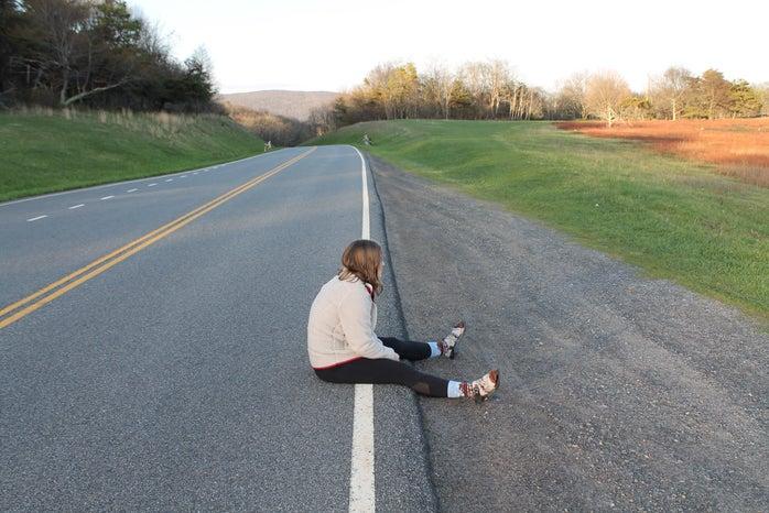Girl Sitting Road Roadtrip Fun Summer Adventure Original