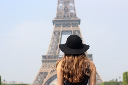 Kellyn Simpkin-Girl In Front Of Eiffel Tower France Hat Paris