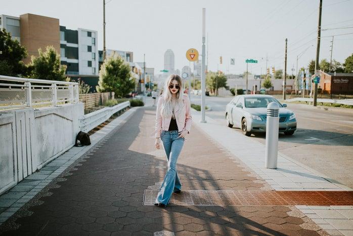 Pink Jacket Sidewalk
