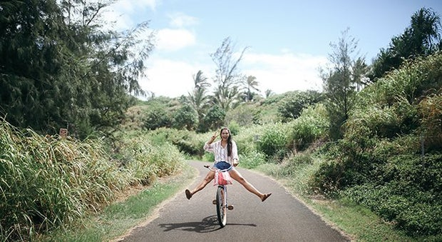 Hawaii Girl Happy Biking Fun Peace