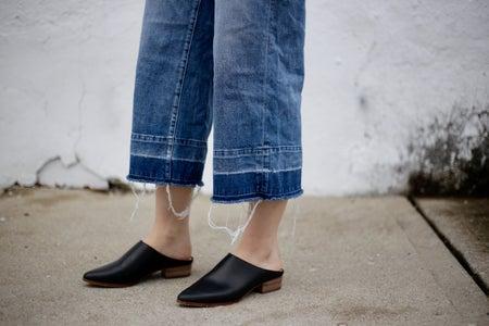 Dimi Boutselis-Frayed Jeans Fashion Shoes Denim White Wall