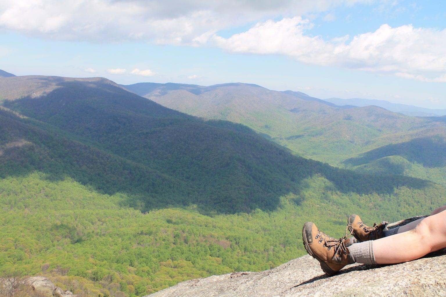 Hiking Shoes Boots Mountains View Adventure Climb Fun Original