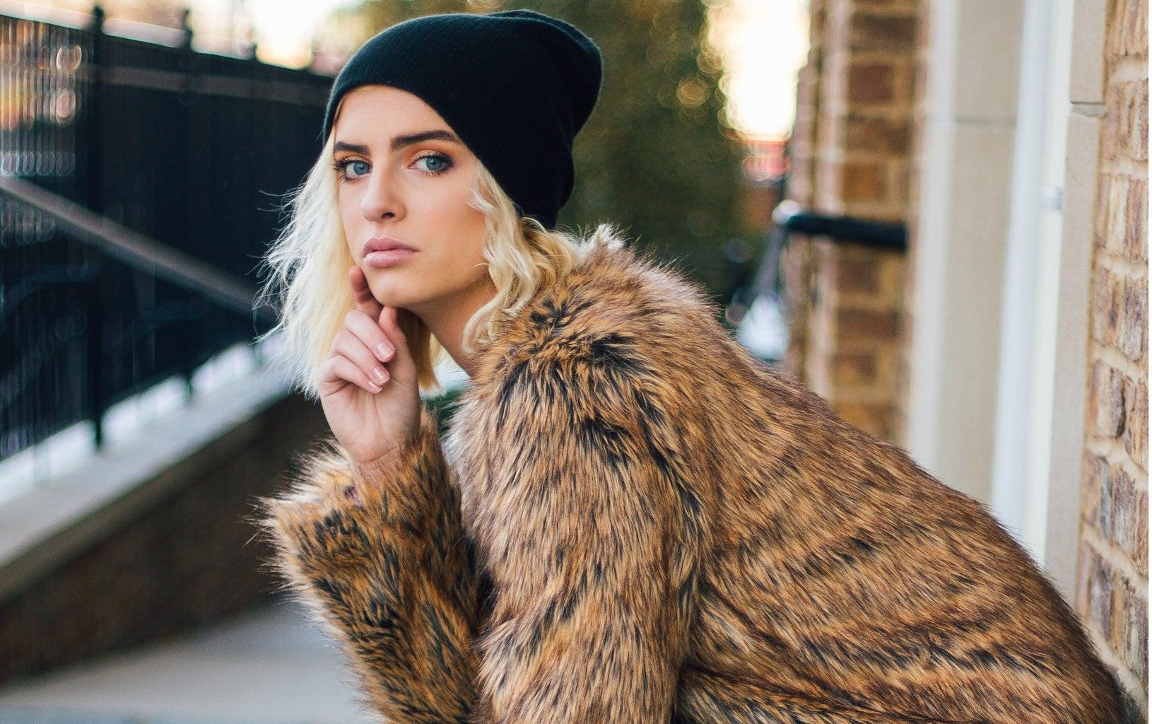 Fur Coat And Beanie