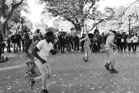 Street Dancing In The Park B&W 2