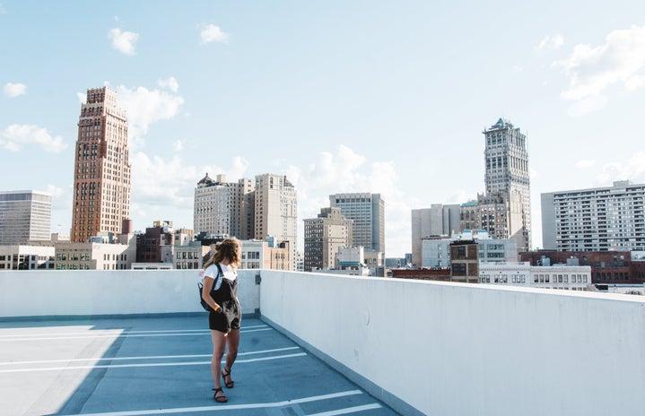 Cameron Smith-City Skyline Detroit Michigan Girl Overalls Street Buildings Skyscrapers 1