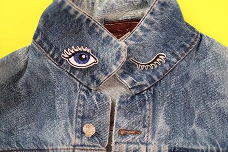Denim Jean Jacket Wink Patches Eyes