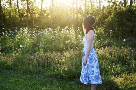 Girl In Porcelain Print Skirt In Feild 1