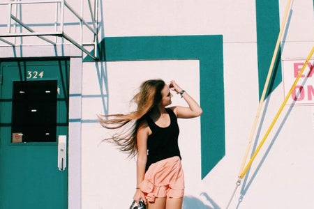 Anna Schultz-Windblown Hair In Front Of Cool Wall