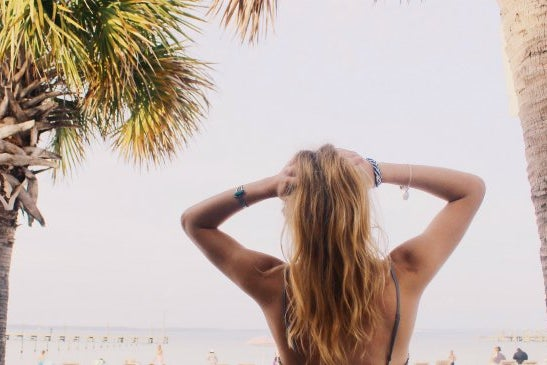 Anna Schultz-Girl With Hands In Hair On Beach Inspirational