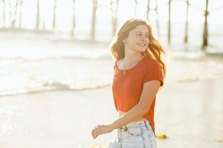 Molly Peach-Girl Running On Beach