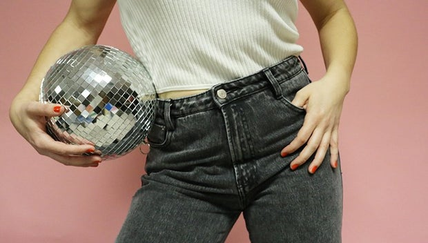 Disco Ball High Waisted Jeans Party Fun
